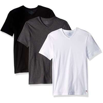 Tommy Hilfiger 3 pack White Grey Blue Slim Fit V-Neck T-shirts Tee NWT