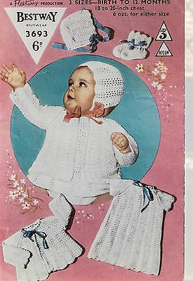 9bf66bc6a103 BESTWAY KNITTING PATTERN 3693 Baby Dress Jacket Bonnet Bootees ...