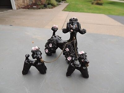Vintage Black Spaghetti Poodle Family Mom  & Pups on Chain Pink Roses