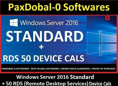 windows server 2016 Standard +RDS 50 Device Cals License ✔Core+RDS Cals✔