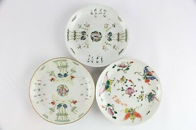 Lot Of 3 Old Chinese Famille Rose Porcelain Plates