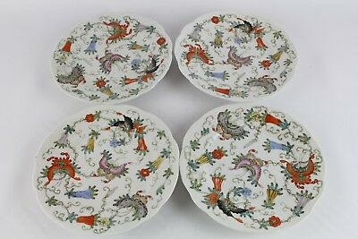 Lot Of 4 Old Chinese Famille Rose Porcelain Plates