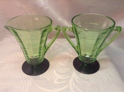 Vintage Depression Glass Mini Pitcher, Creamer & Sugar Green Block Optic Footed