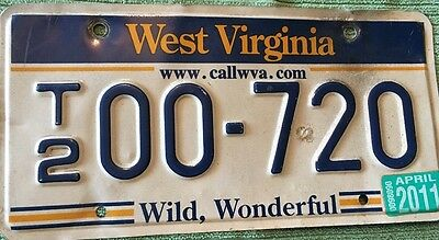 WEST VIRGINIA STATE LICENSE PLATE  - T200-720  2011 Sticker