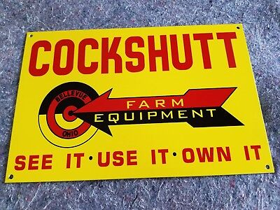 Cockshutt Farm Equipment Thick Metal Sign Made in USA Bellevue OH Oliver Moline