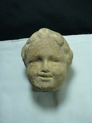 Cabeza Romana De Un Niño En Piedra Art      Roman Head Of A Child In Stone Art