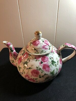 Formalities By Baum Bros. China Teapot, Pink Roses, Gold Trim