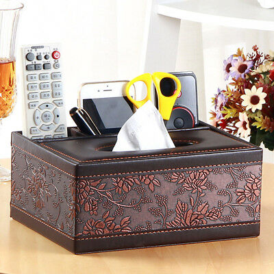 PU Leather Home Room Car Hotel Tissue Box Cover Paper Napkin Holder Pencil Case