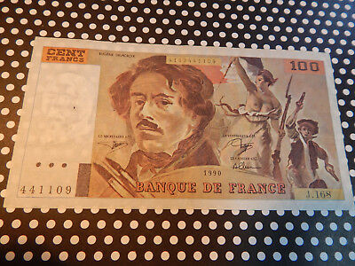 """100 Franc French Note / """"DELACROIX"""" / 1990 / VERY COLLECTIBLE"""