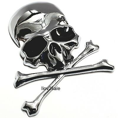 3D metal skull skeleton crossbones car motorcycle sticker truck label emblem