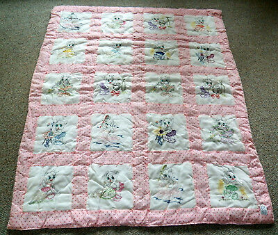 Vintage Quilted Pink Rose Pixie/Cat/Alien Embroidered Baby Blanket/Quilt 44 x 54