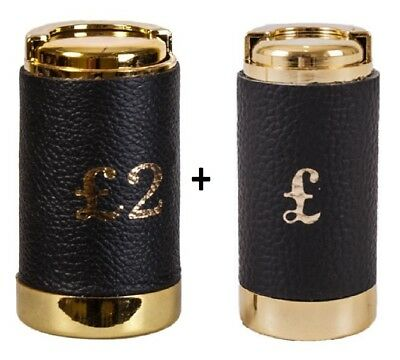 £1 Pound COIN HOLDER £2 Two Pound Cash Change Dispenser Pocket Taxi BLK Leather