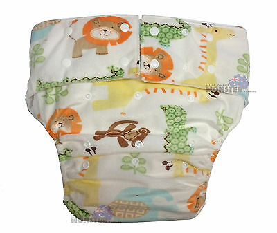 Adult Baby Cloth Nappy Costume or for INCONTINENCE Minky Jungle Animals Diaper