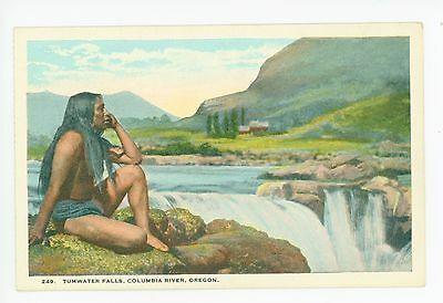 Indian by Tumwater Falls—Antique OR Native American Beautiful Woman 1910s