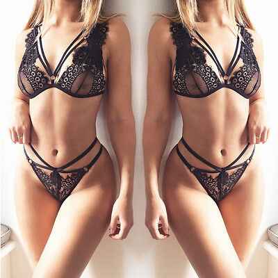 US Push Up Bra Lace Bra And Panty Set Women's Embroidery Deep V Lingerie Knicker
