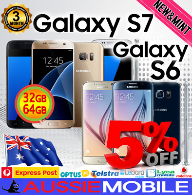 New Samsung Galaxy S7 & S6 Sm-G930 Sm-G920 4G Lte 64Gb + 128Gb Genuine Unlocked