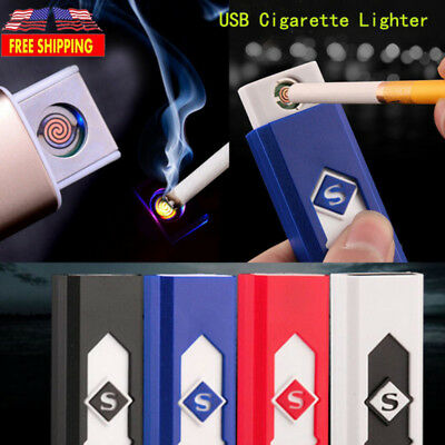 USB Electric Battery Rechargeable Flameless Fire Lighter Cigarette Windproof USA