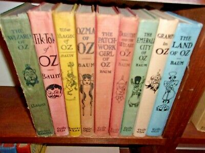 LOT old 8 Vintage antique set wizard of oz book collection Frank Baum collection