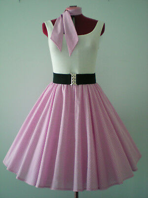 """GIRLS/LADIES ROCK N ROLL/ROCKABILLY """"Check"""" SKIRT-SCARF XS-S Pink/White."""
