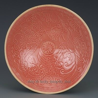 Large Chinese Antique Red Glaze Carved Dragon Phoenix Porcelain Bowl