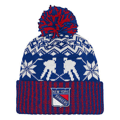 NHL New York Rangers adidas Ugly Sweater Cuffed Pom Knit Mens