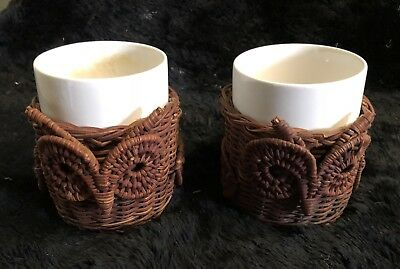 Pair of Vintage Avon Wicker/Rattan Owl Coffee Mugs