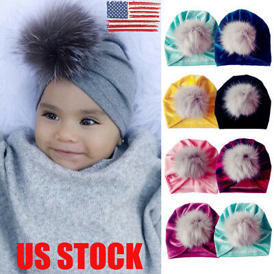 US Baby Girl Beanie Cap Toddler Infant Cotton Turban India Hat Hair Accessories