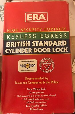 """ERA 234-51 Fortress BS Euro Security Deadlock 64mm 2.5"""" 6 Pin Cylinder chrome"""