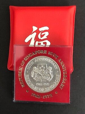 SINGAPORE 1975 $10 50% Silver UNCIRCULATED Coin 10th Anniversary of Independence