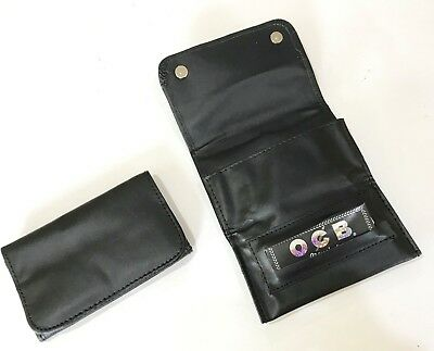 Premium Tobacco Pouch PU Leather Fully Lined Rolling Paper Slot Magnetic Close