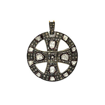 18K Gold Sterling Silver 2.56Ct Rose Cut Diamond Initial Cross Pendant Jewelry