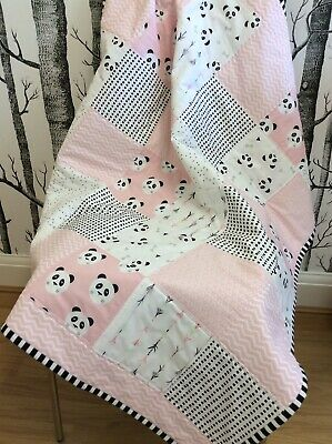 Panda Bear Pink Baby Patchwork Quilt with monochrome Backing