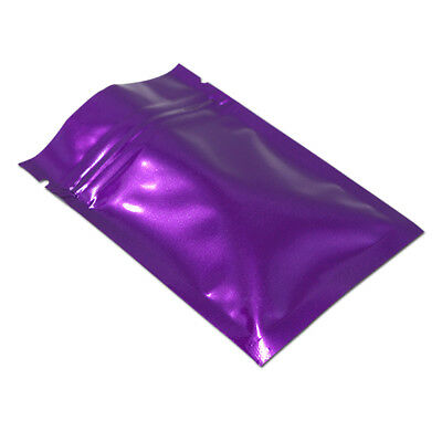 Glossy Purple Flat Zip Lock Aluminum Foil Bag Mylar Sealed Food Storage Pouches