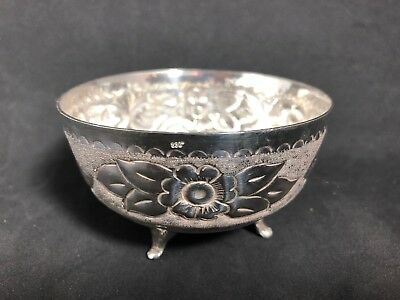Silverplate Footed Bowl With Repousse Floral Pattern 14P