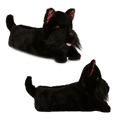 Loungeable Womens Taffy Terrier 3D Slippers Girls Novelty Dog Animal Plush Shoes