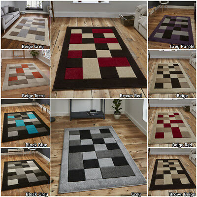 Modern Small Extra Large Runner Hand Carved Heatset Geometric Pattern Think Rug