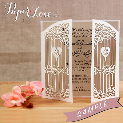 SAMPLE of Gatefold Laser Cut Wedding Day Evening Invitations with Envelopes