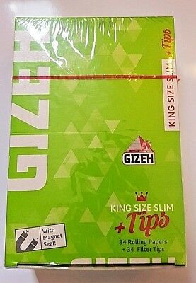 Brand New Gizeh Slim King Size+Tips Rolling Papers 26x34 Booklets 12.0 g/m SF