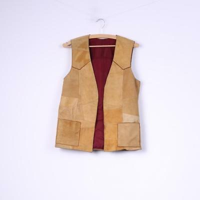 Womens M Vest Patchwork Leather Suede Camel Waistcoat Top