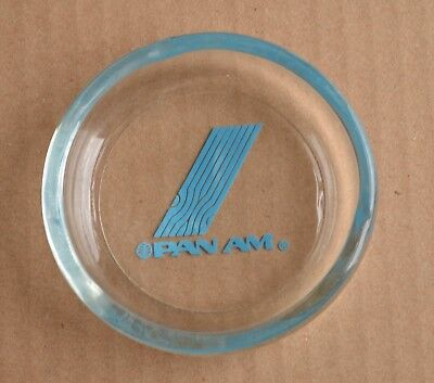 "New NOS Vintage PAN AM glass Ashtray 4"" 1960s or 70s Ash Tray"