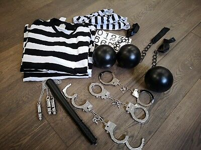 Fancy Dress Halloween Bundle- Three Convict/ Jailbird/ Prison Costumes S/M/L