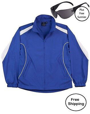 Adult Warm Up Jacket Tracksuit Top ROYAL BLUE/White PLUS free sunnies
