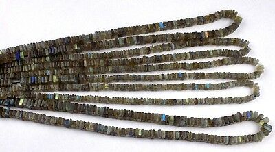 "2 Strands AAA Natural Blue Fire Labradorite Square 4-5mm 16"" Long Smooth Beads"