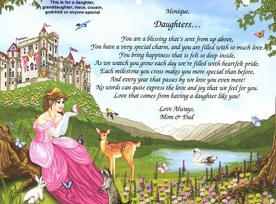 Personalized Poem to a Daughter, Niece Granddaughter Ready to Frame