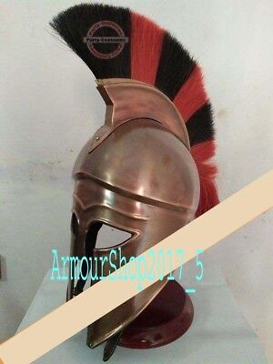 Medieval Greek Corinthian Helmet W/ Red & Black Plume Roman Armour Spartan