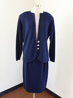 Vtg St. John Marie Gray Blue Knit Skirt Suit Set Jacket Size 14 Crystal Buttons