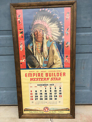 Great Northern Rr Empire Builder 1954 Calendar Large Size 16 X 33.5, Excellent
