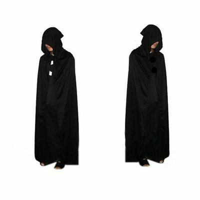 Hooded Halloween Cloak Velvet Medieval Robe Long Witch Cape Wizard Costume Dress