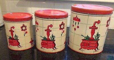 Vintage Decoware Canister Set of 3 Red and Cream with Kitchen Accessories design