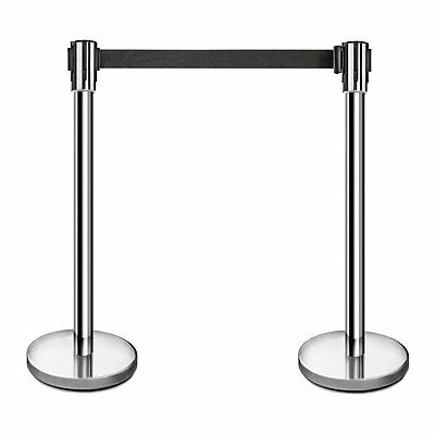 "New Star Food Service 54606 SS Stanchions 36"" H w/ 6.5' Retractable Belt 2 Pcs"